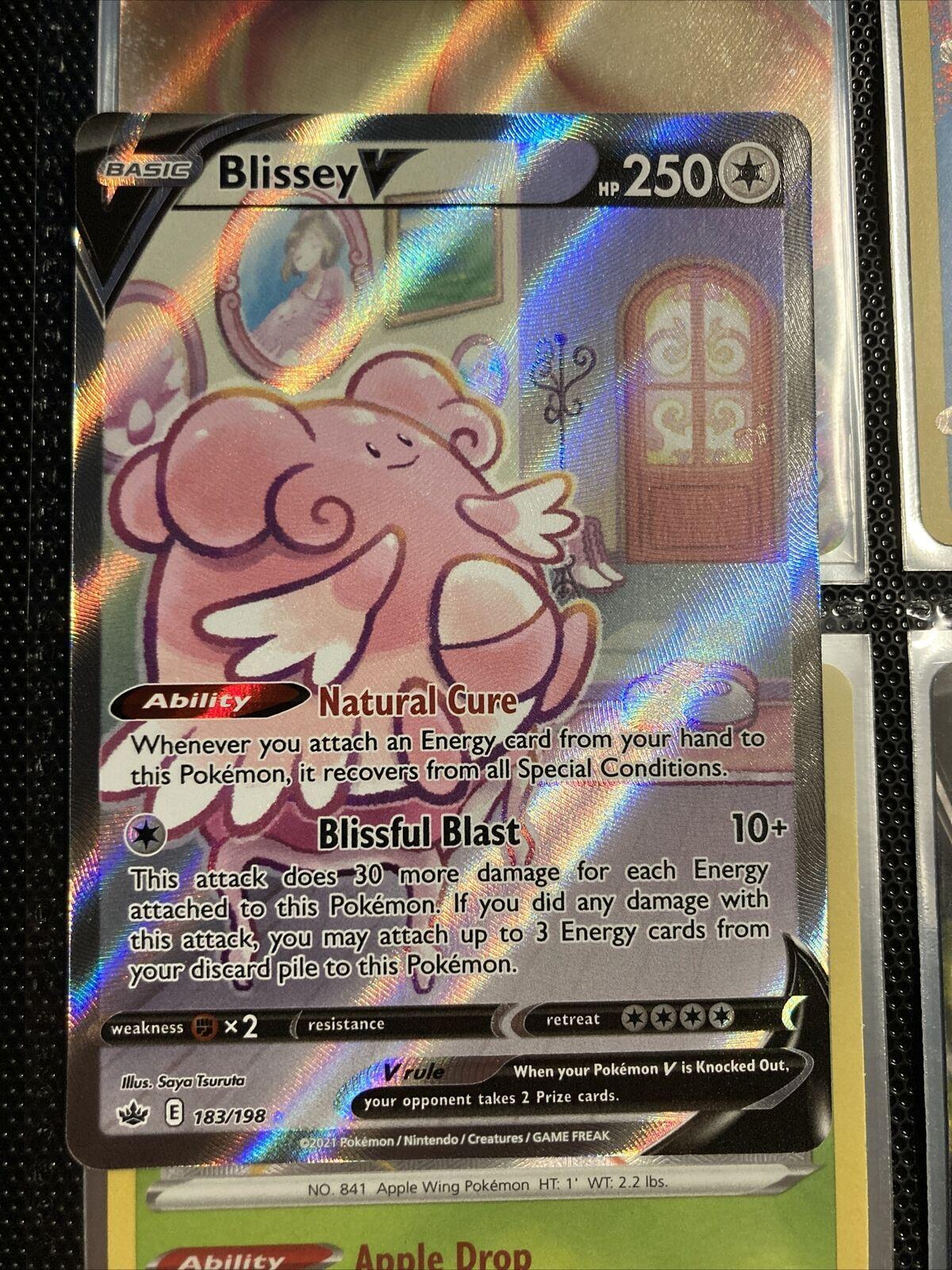 Pokemon BLISSEY V 183/198 Chilling Reign RARE ALTERNATE FULL ART - MINT