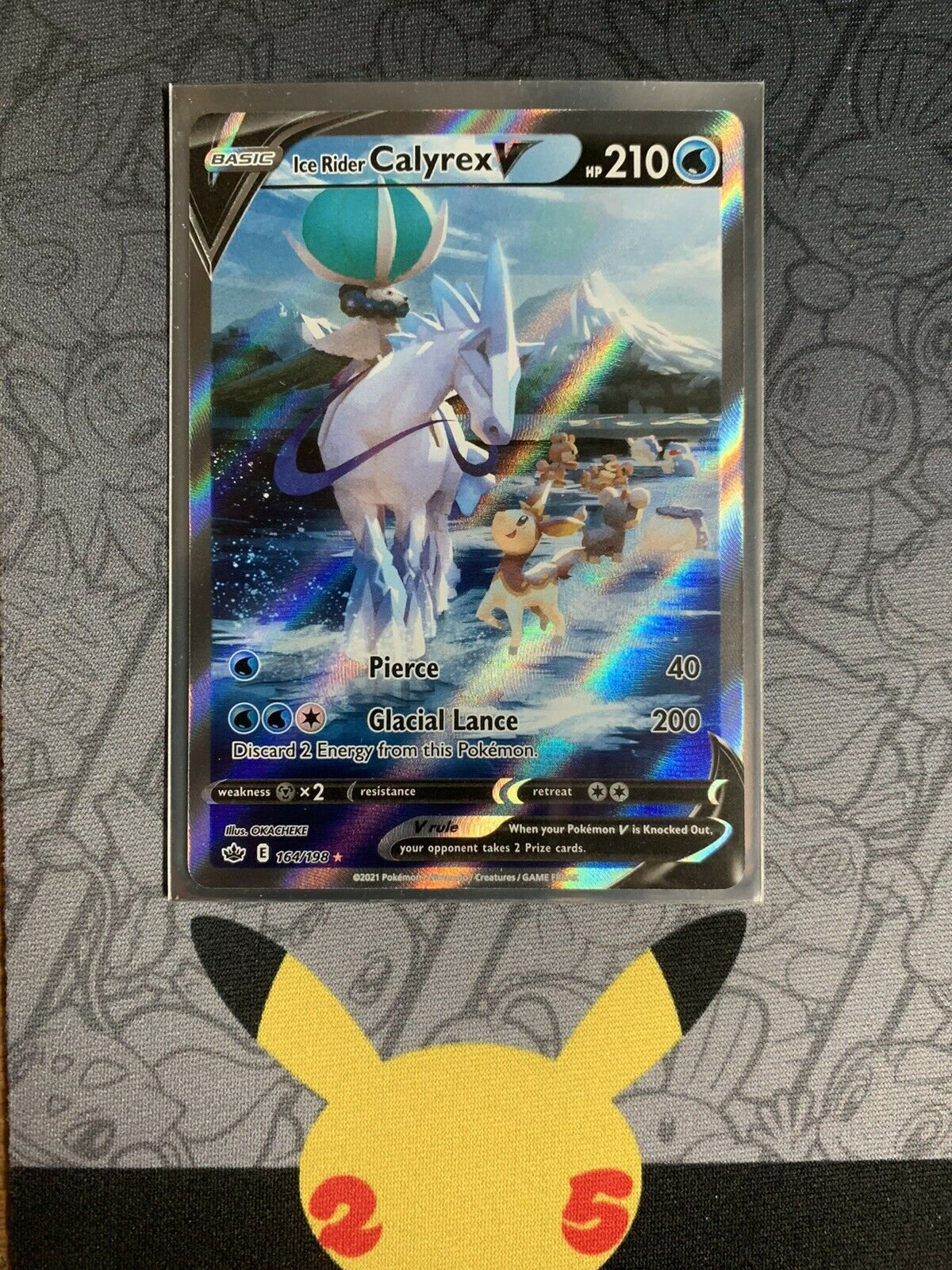 Pokemon Ice Rider Calyrex V Full Art 164/198 Chilling Reign Holo Rare NM / Mint