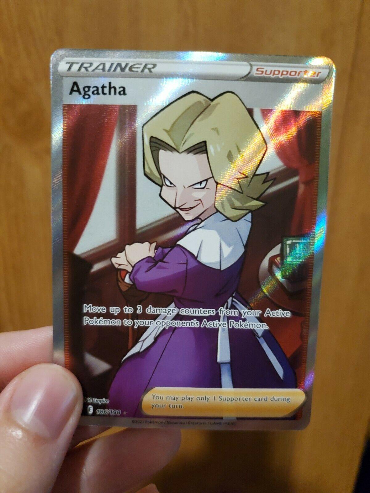 Agatha Full Art 186/198 Chilling Reign Sword & Shield Pokemon Near Mint