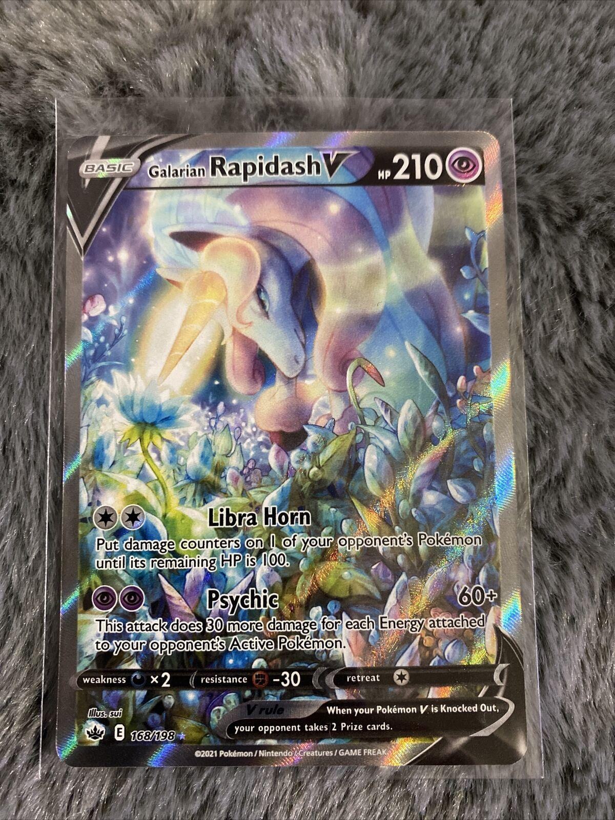 Pokemon Galarian Rapidash V Alternate Art 168/198 - Chilling Reign Sleeved