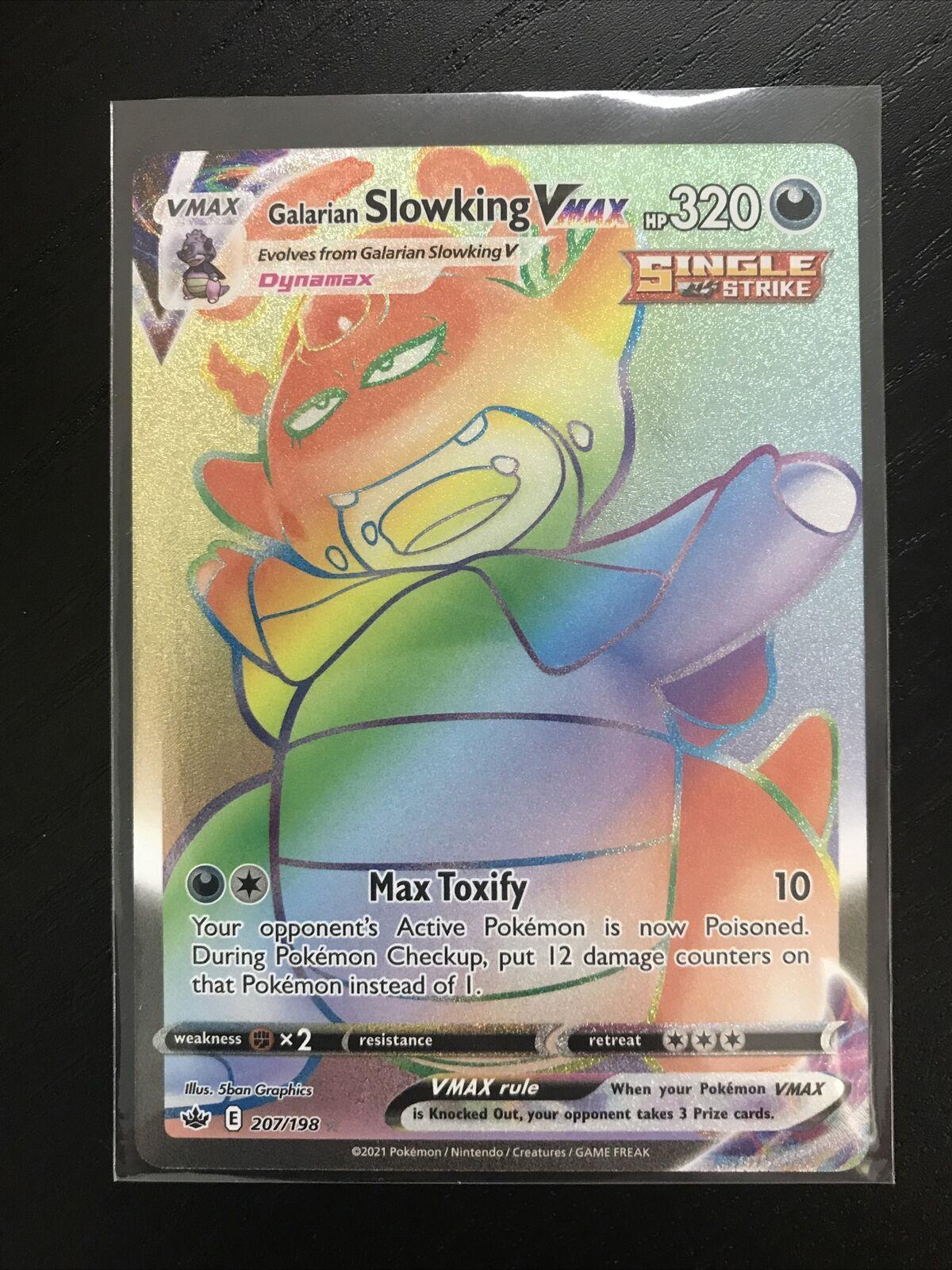GALARIAN SLOWKING Vmax Rainbow Rare Chilling Reign 207/198 Pokemon TCG