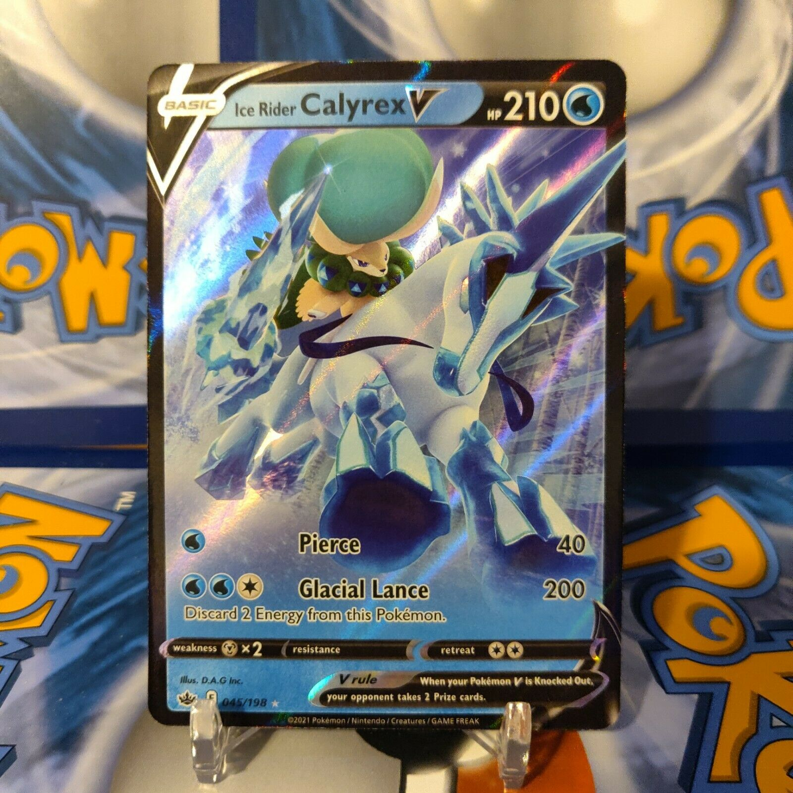 Pokemon TCG Chilling Reign ICE RIDER CALYREX V Holo Rare Card # 045/198