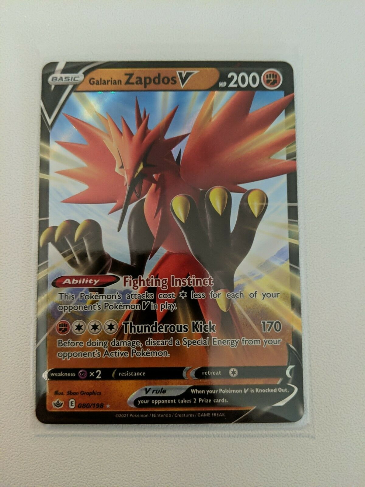Galarian Zapdos V Pokemon Chilling Reign Card 080/198 Mint Condition