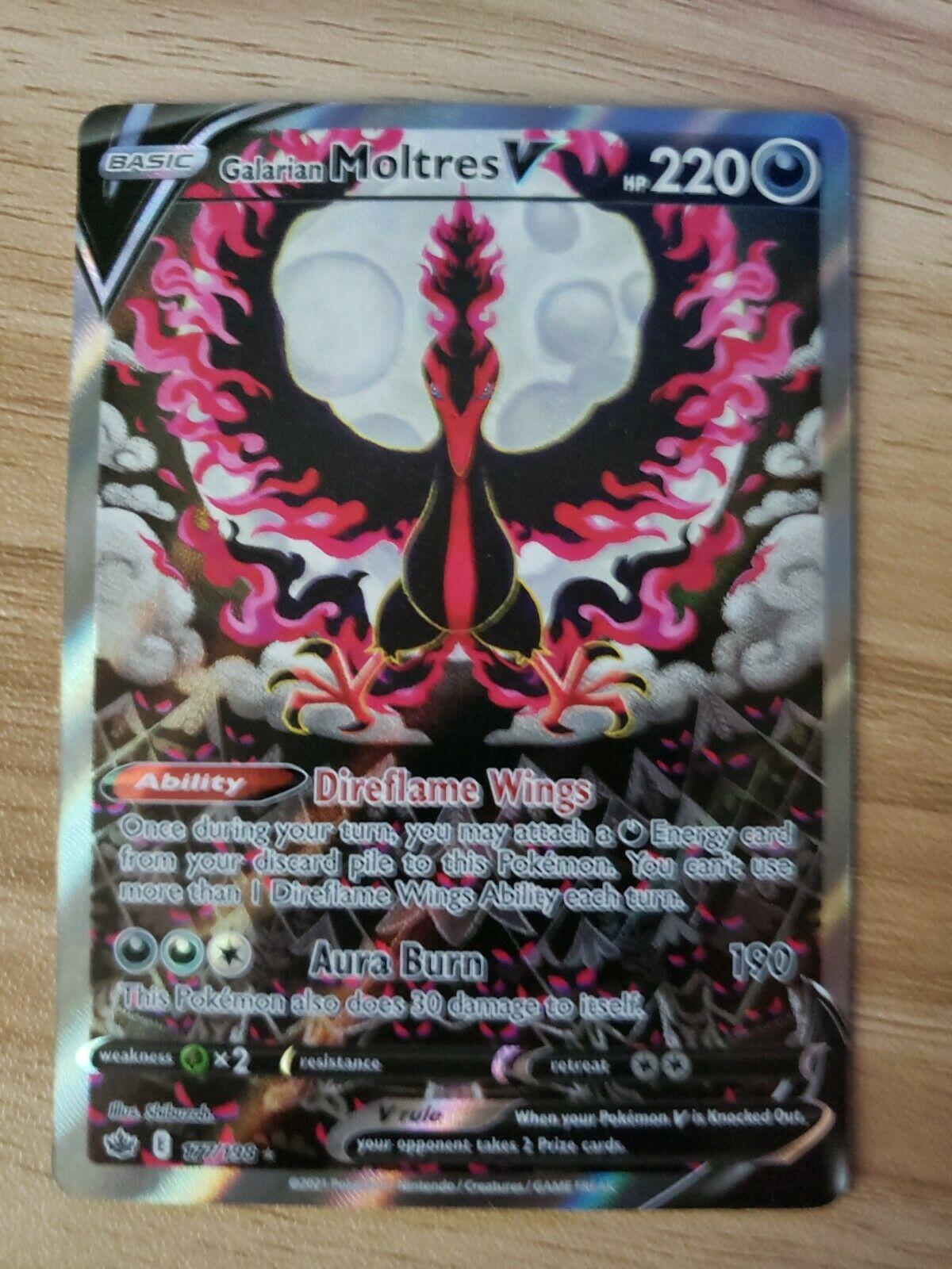 Galarian Moltres V 177/198-Pokemon Chilling Reign-Alternate Art-Ultra RARE