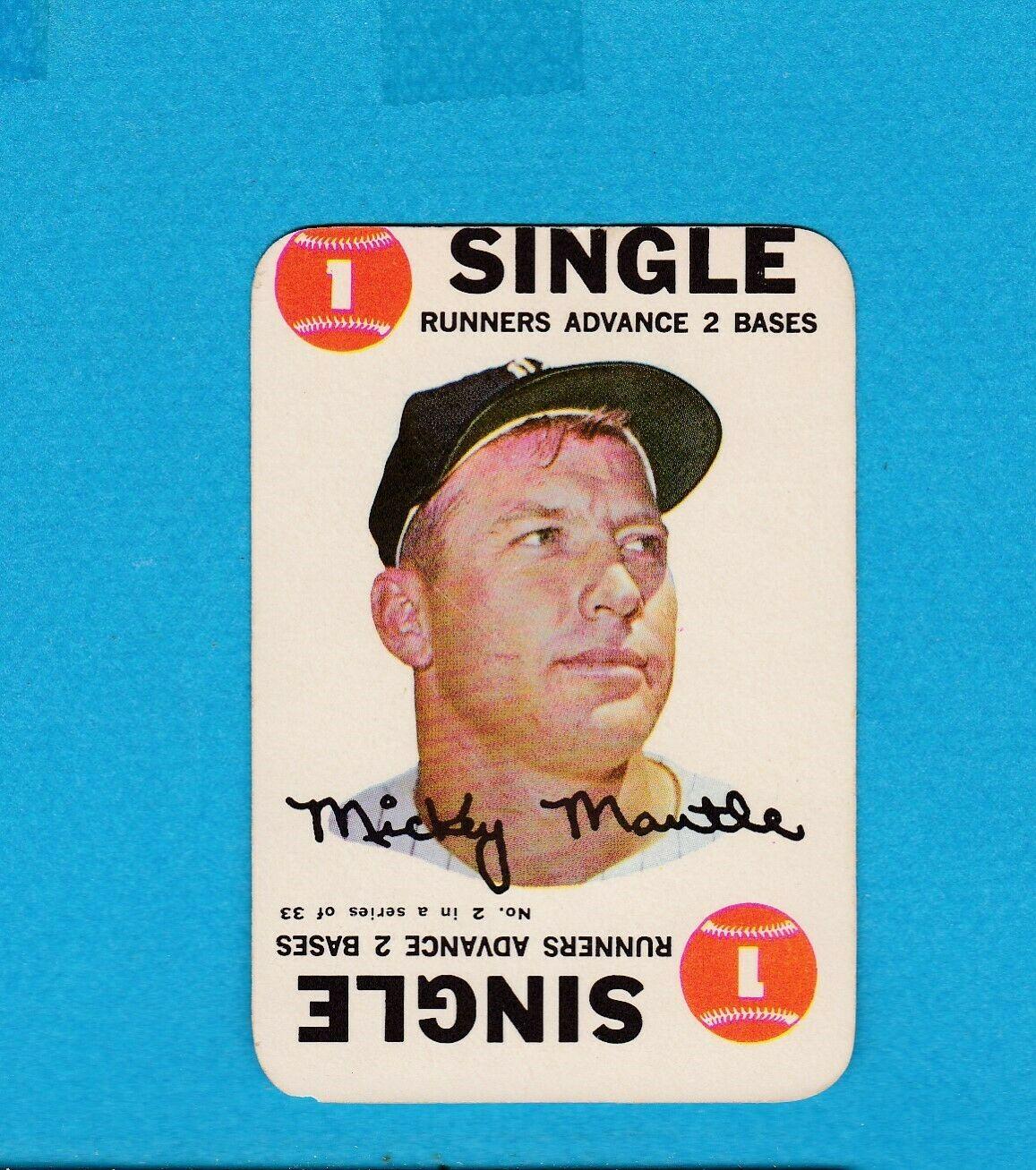 1968 TOPPS BASEBALL SET BREAK GAME CARD 2 MICKEY MANTLE VG+ - Image 1