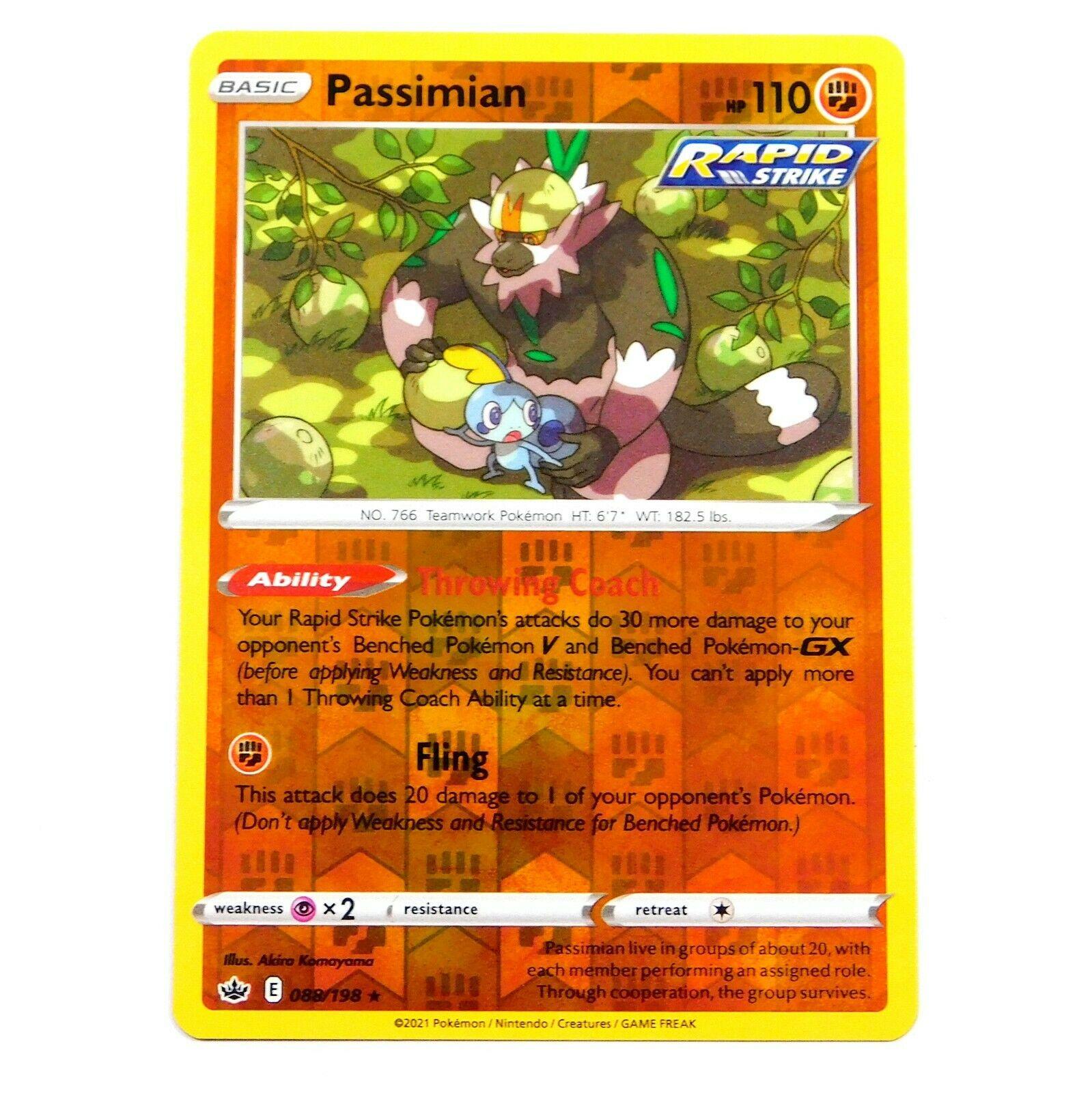 Passimian 088/198 Reverse Holo Rare Chilling Reign Pokemon Card NM/M
