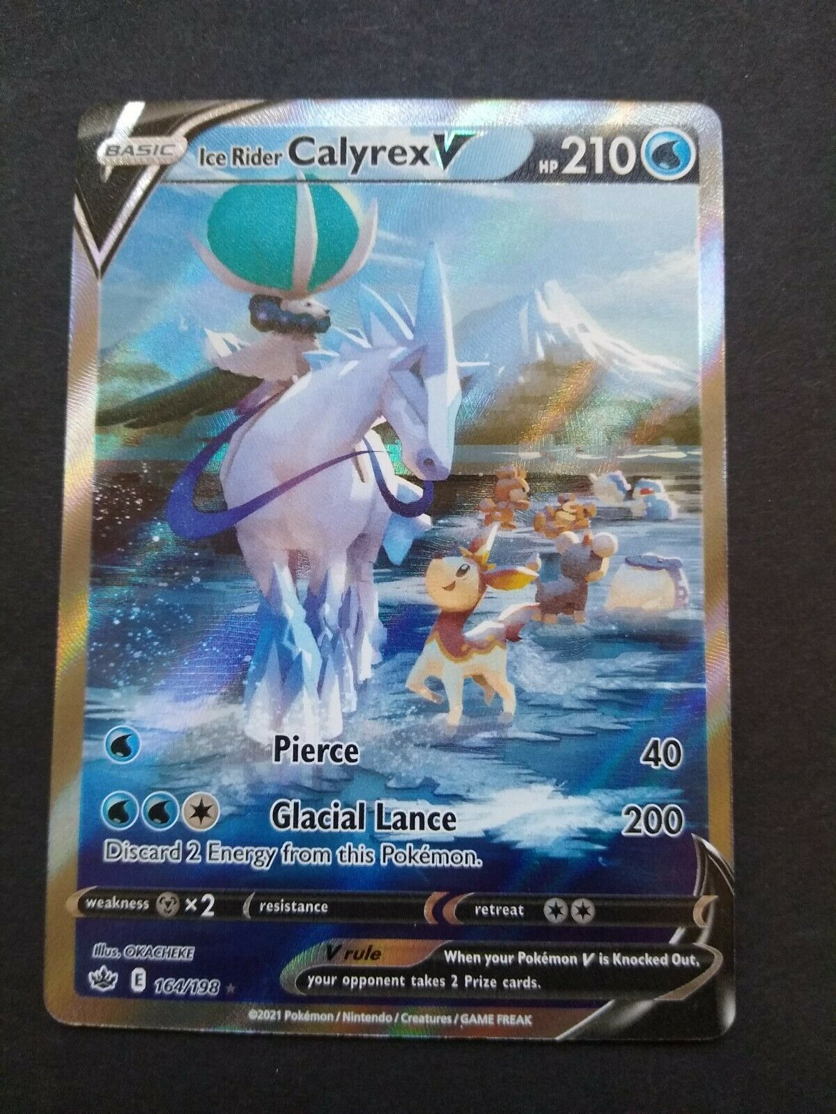 Pokemon TCG Chilling Reign Ultra Rare Ice Rider Calyrex V 164/198 NM
