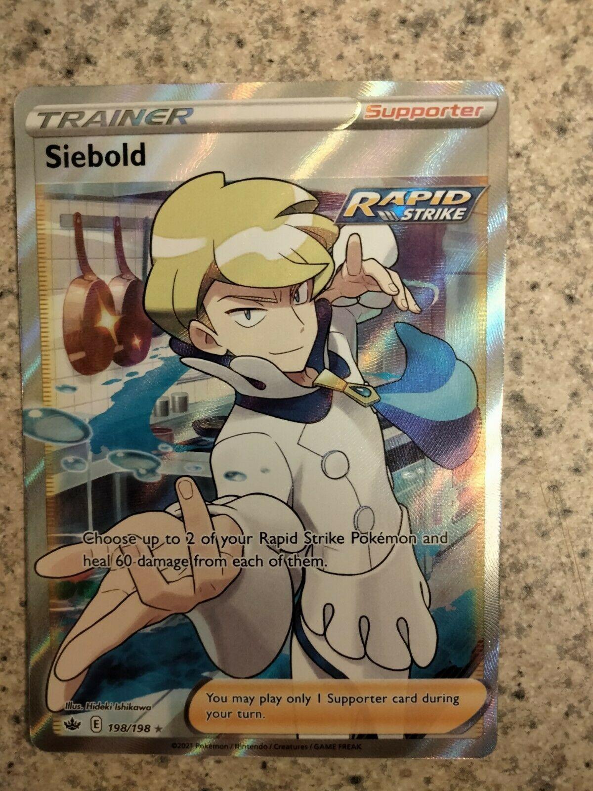 Siebold Full Art Trainer Chilling Reign Pokemon NM Condition 198/198