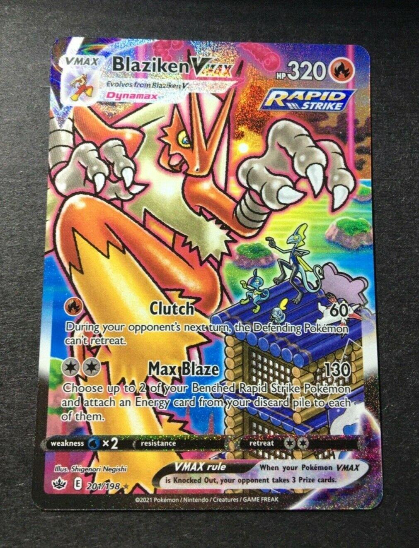 Blaziken VMAX 201/198 alternate art Chilling Reign secret rare freshly pulled NM