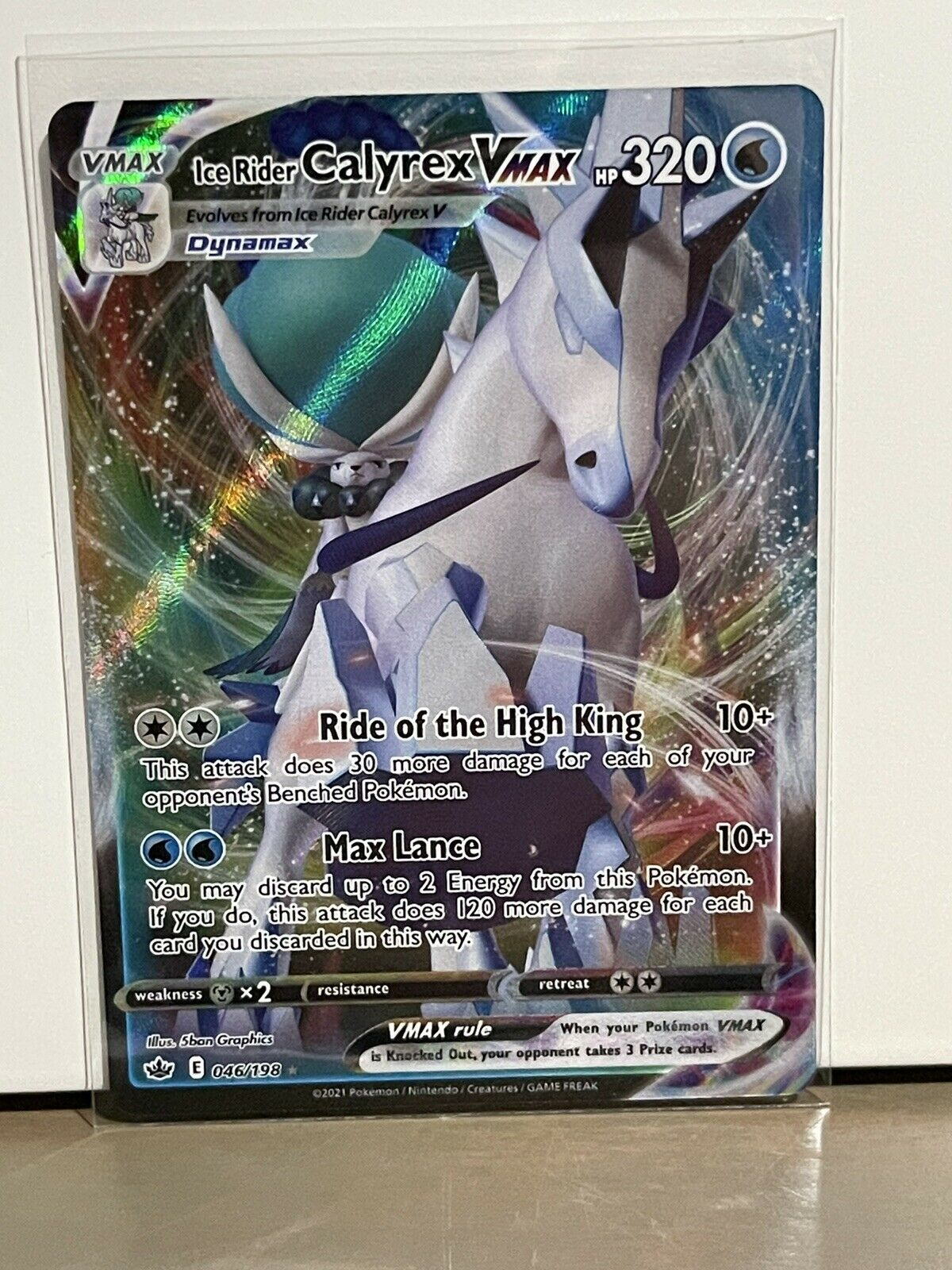 Ice Rider Calyrex Vmax 046/198 Chilling Reign Ultra Rare Holo Pokemon Card NM-M