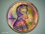 1973-D Lincoln Cent RAINBOW TONED MONSTER US PENNY BU Brilliant Uncirculated