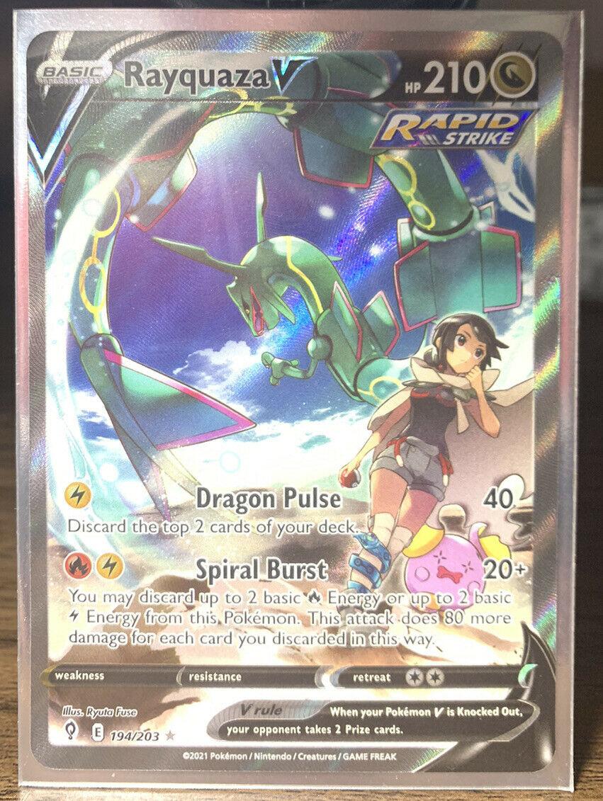 Pokemon TCG Rayquaza V Alternate Full Art 194/203 Evolving Skies MINT Fresh Card