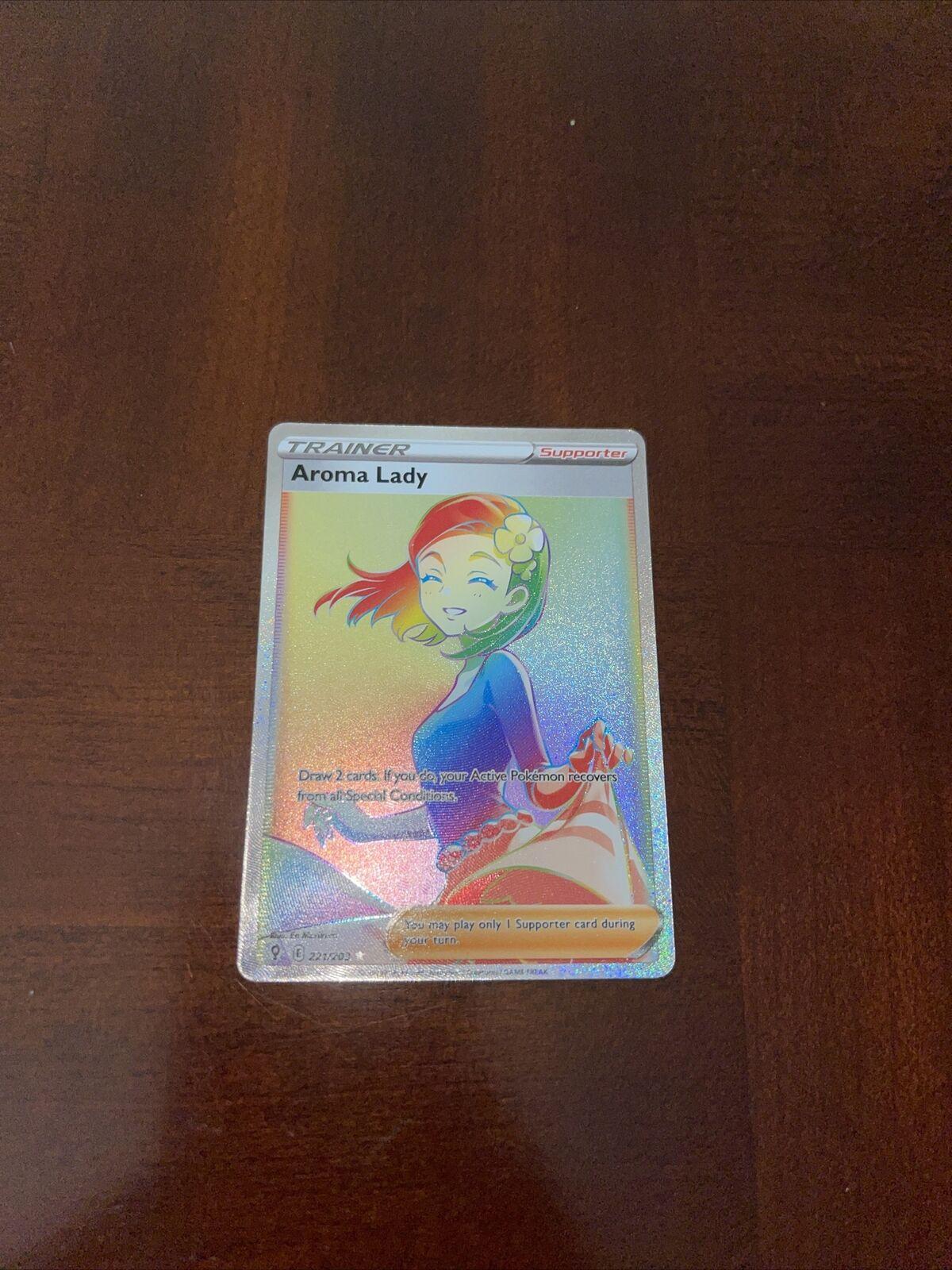 Pokemon Evolving Skies Aroma Lady 221/203Secret Rare Full Art - NM/Mint
