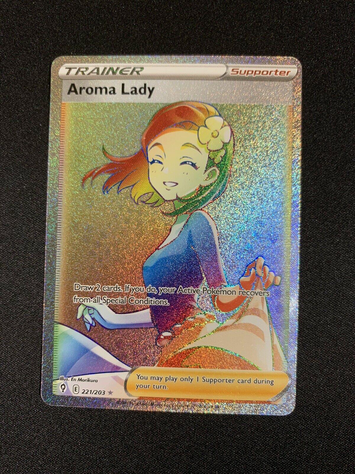 Aroma Lady 221/203 Evolving Skies Secret Rare Rainbow Holo Pokemon Trainer Card