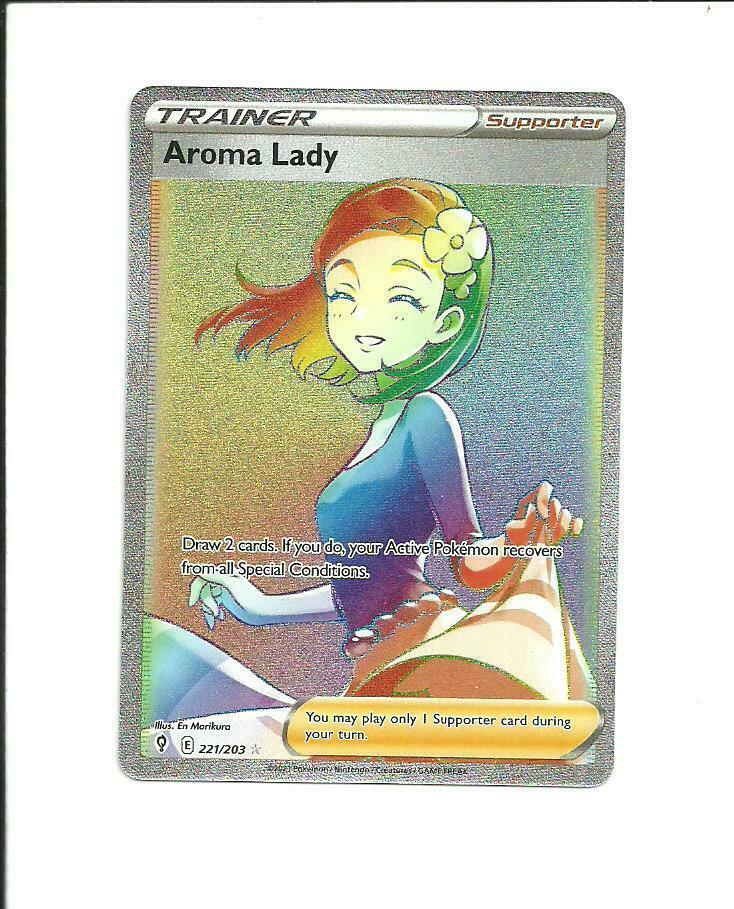 POKEMON EVOLVING SKIES Aroma Lady Secret Rare Trainer 221/203