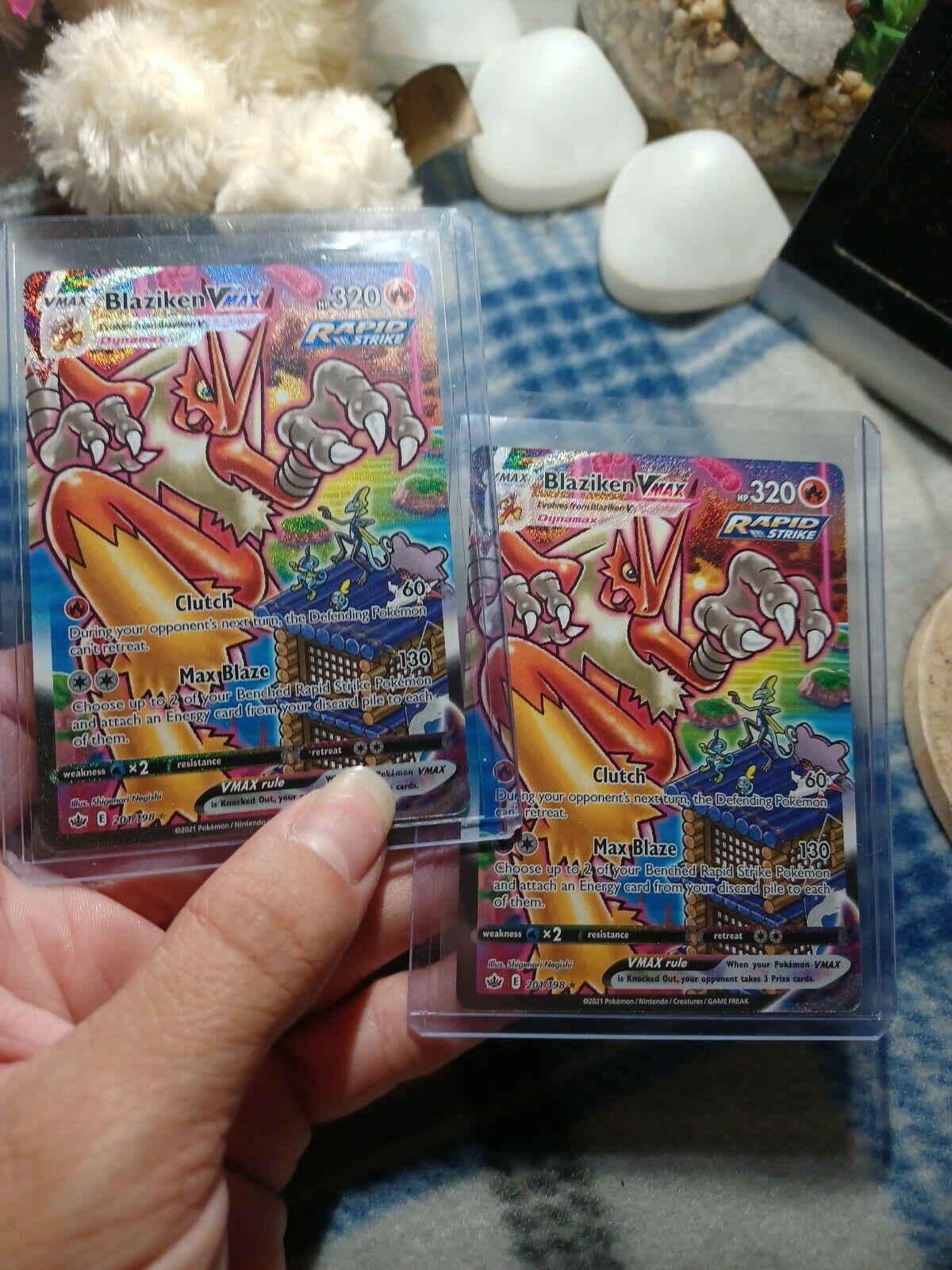 (2) Pokémon Blaziken VMAX 201/198 Secret Rare full art Chilling Reign MINT COND.