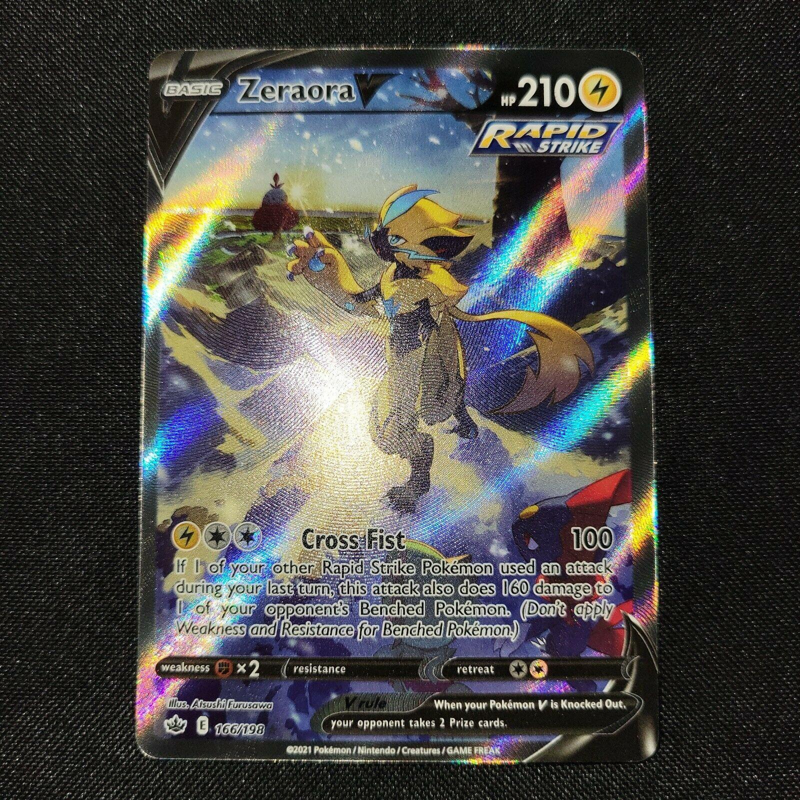 Zeraora V Full Art Rare Pokémon Card Chilling Reign 166/198
