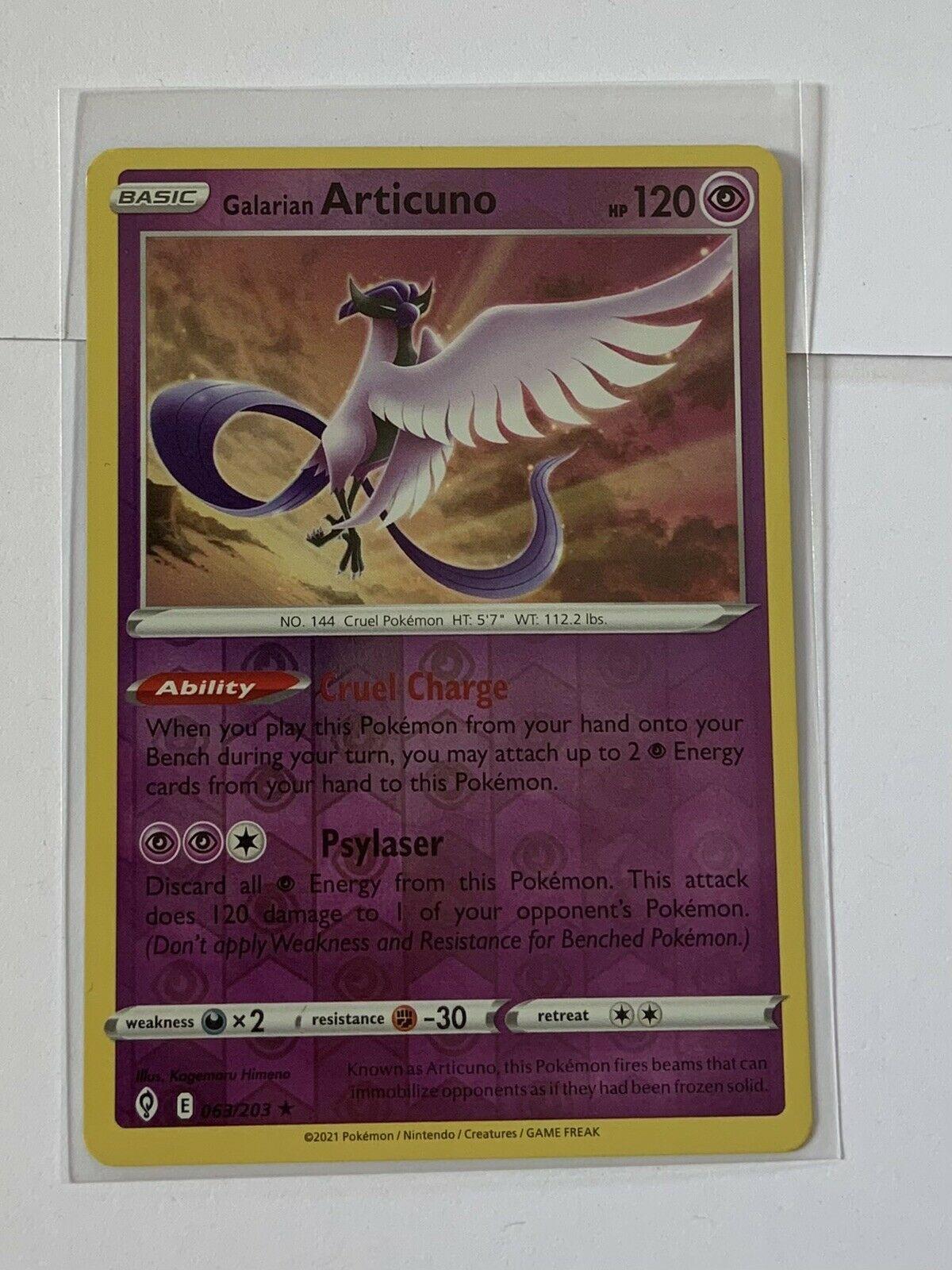 Galarian Articuno 063/203SWSH07: Evolving Skies Pokemon TCG Reverse Holo NM