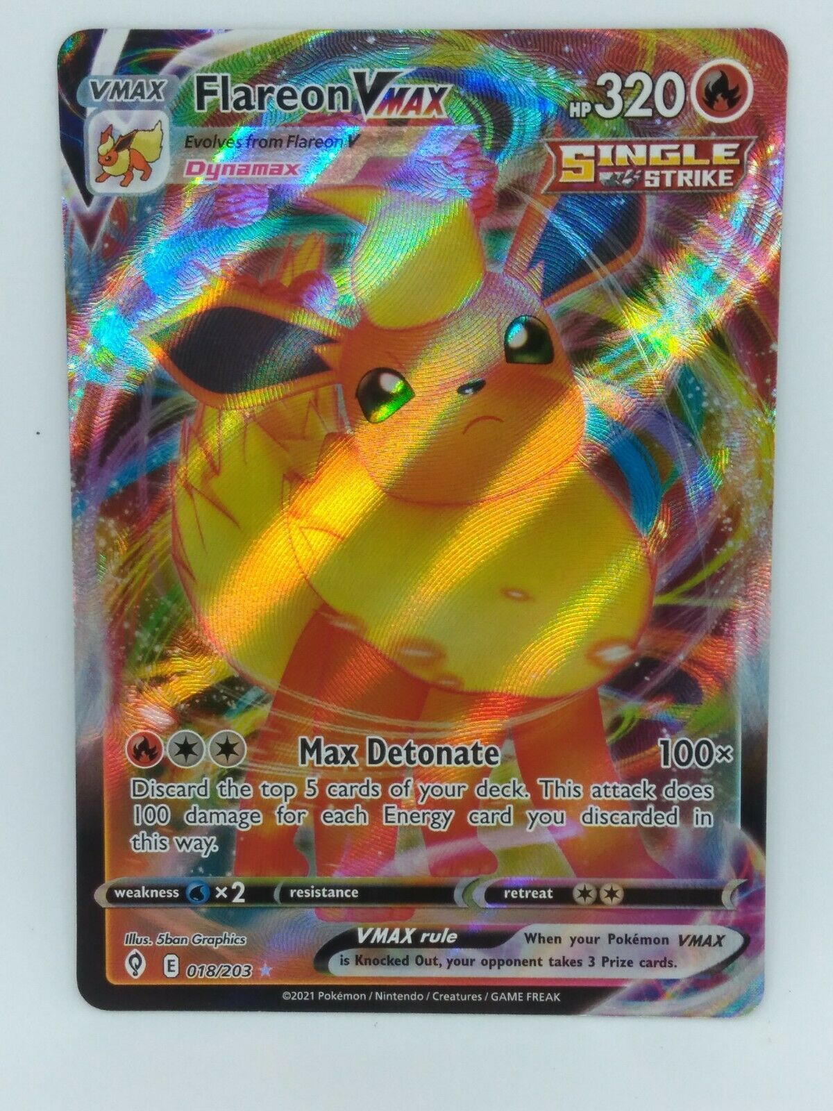 Flareon Vmax 018/203 Evolving Skies NM Full Art Ultra Rare Pokemon Card