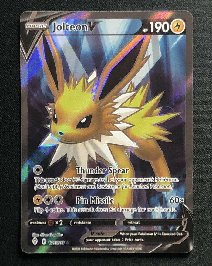 Jolteon V 177/203 Full Art Ultra Rare Pokemon Card Evolving Skies NM M