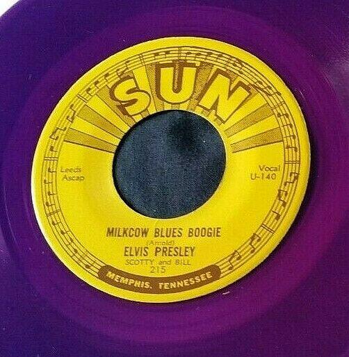 Elvis Presley: Milkcow Blues Boogie/You're a... 45 Sun 215 RE purple vinyl
