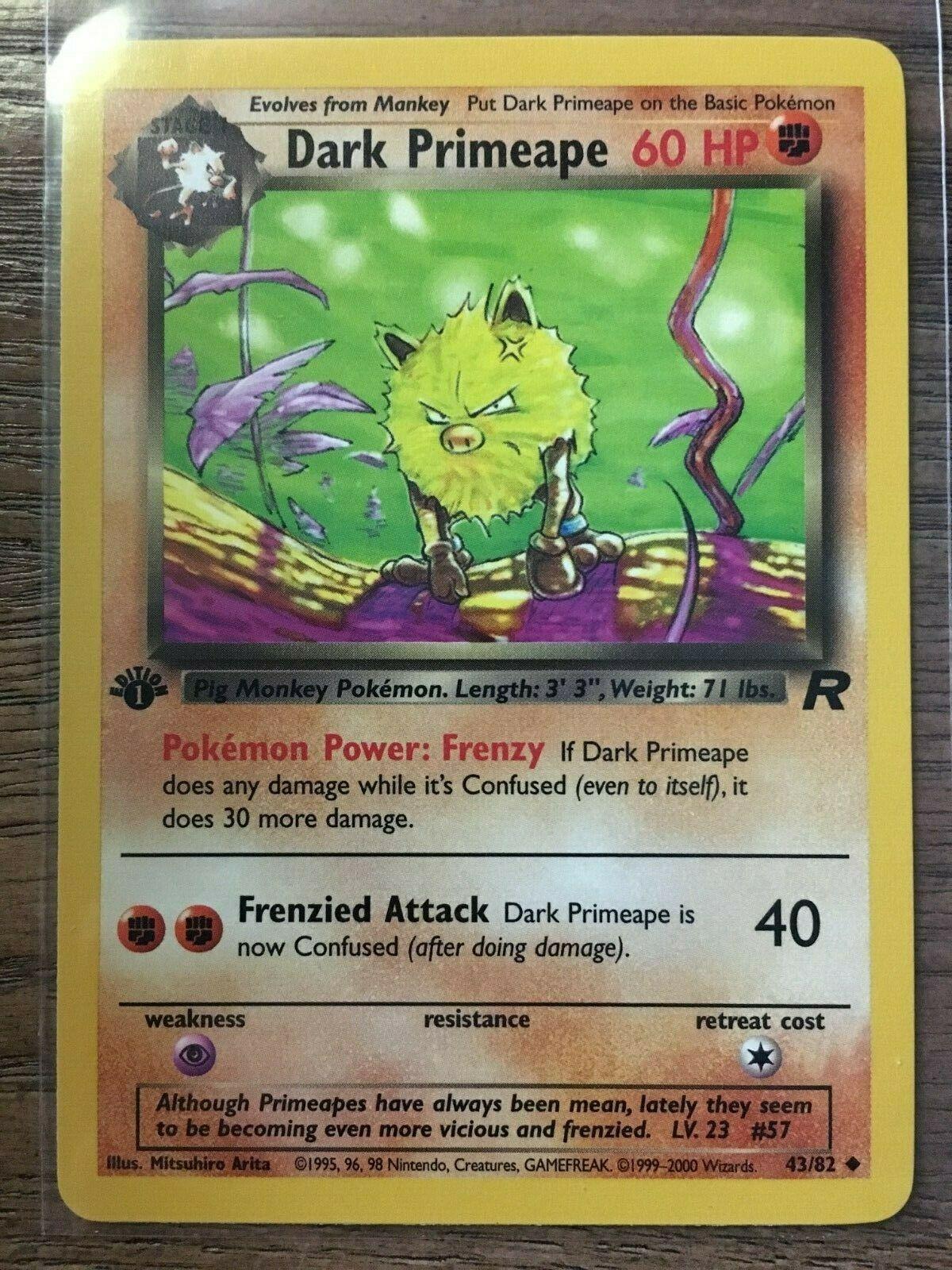 Dark Primeape 43 Team Rocket Uncommon Pokemon Card Near Mint
