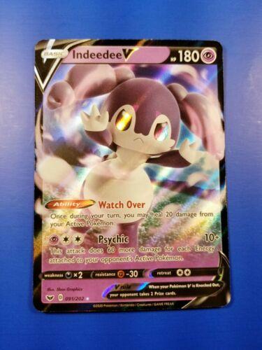 Ultra Rare NM-Mint Pokemon SWSH1 091//202 1x Indeedee V Sword and Shield Ba