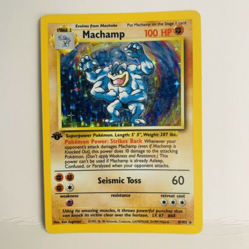 Holo Base Set Pokemon Card 1st Edition Shadowless Machamp 8//102