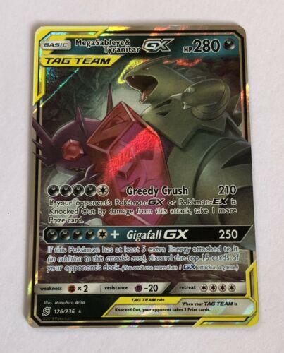 MegaSableye /& Tyranitar TAG TEAM GX Unified Minds ULTRA RARE 126//236 Pokemon