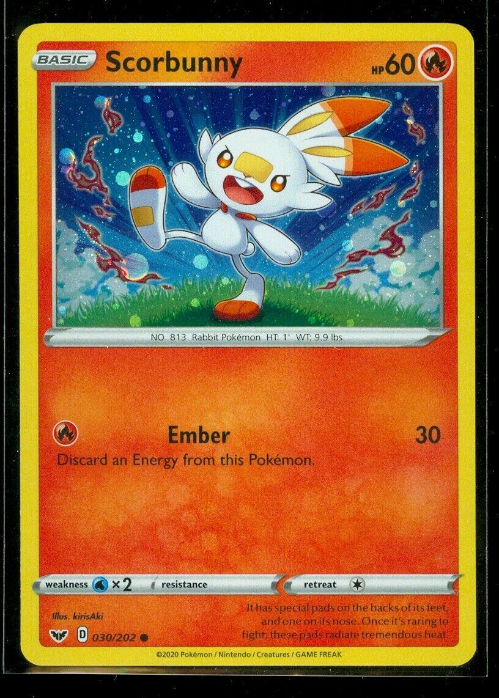 Sword /& Shield Set - NM 2020 Common Pokemon Card Scorbunny 030//202